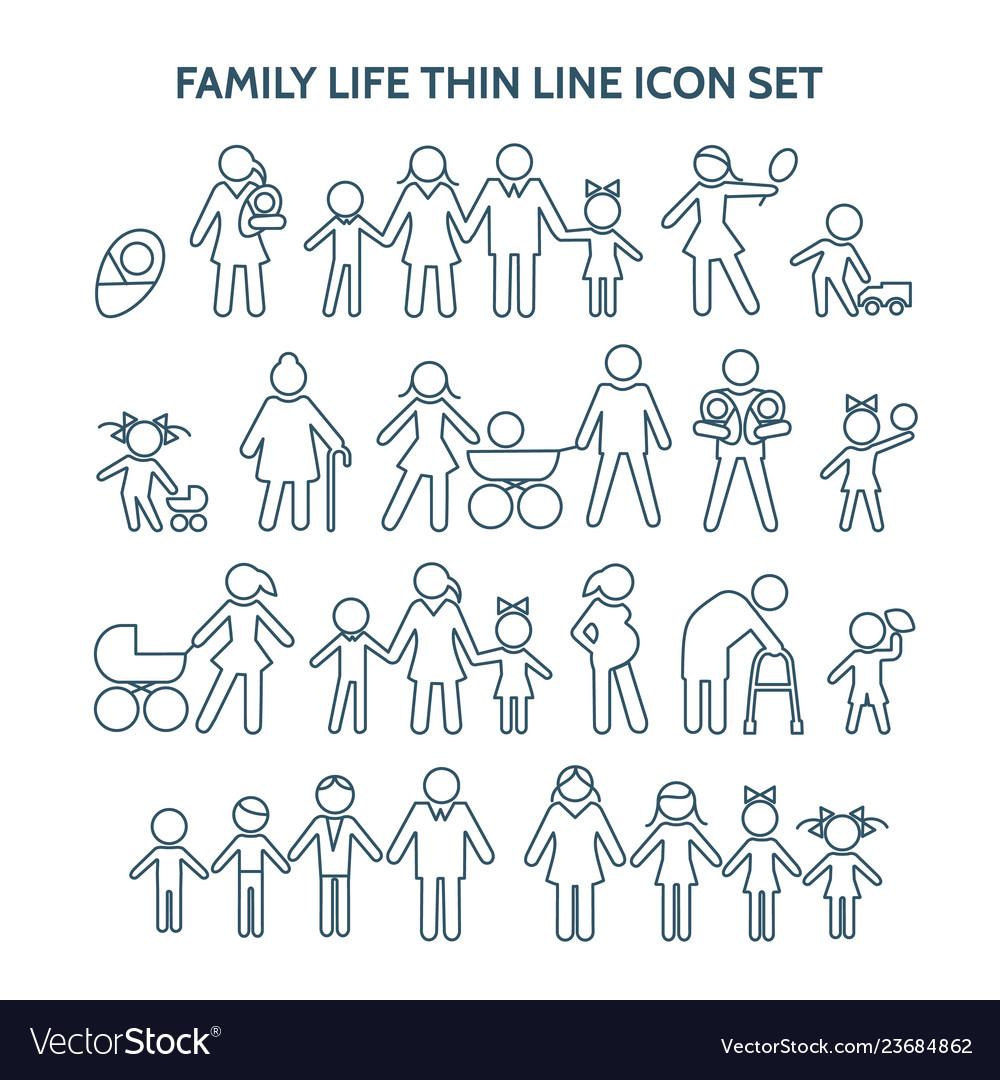 Family life thin line icons