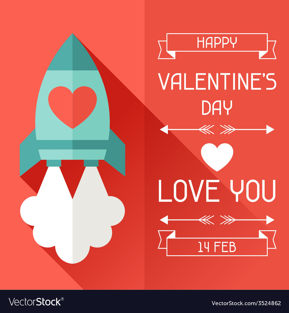Happy Valentines in flat style