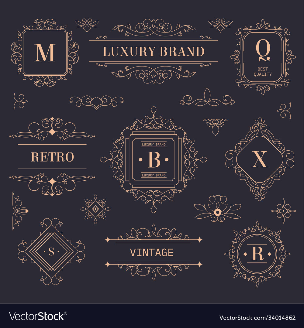 Luxury brand vintage labels and logotypes with