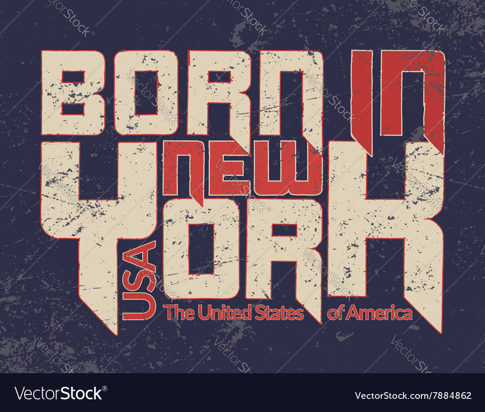New York city Typography Graphic Guote BORN vector image