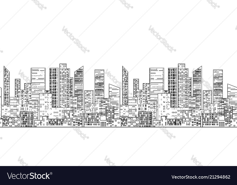 Seamless border with outline of urban skyscrapers