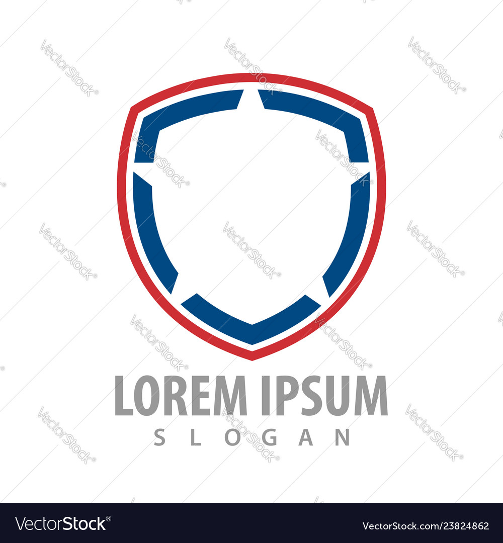 Shield line red blue logo concept design symbol