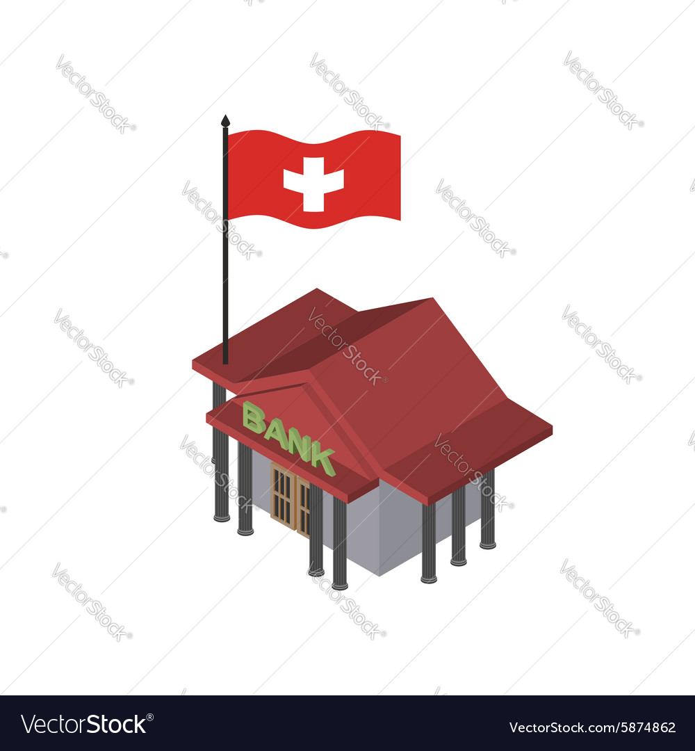 Swiss Bank Reliable Bank with flag of Switzerland vector image