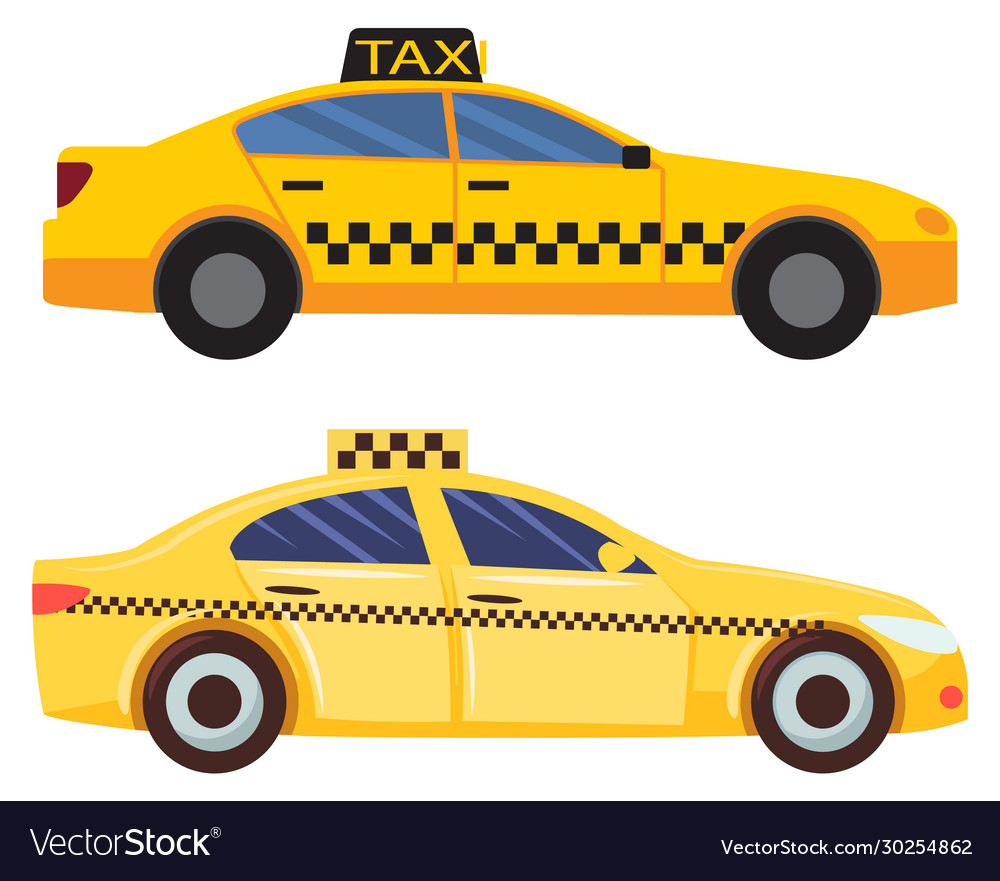 Taxi cars set cab service in city transportation