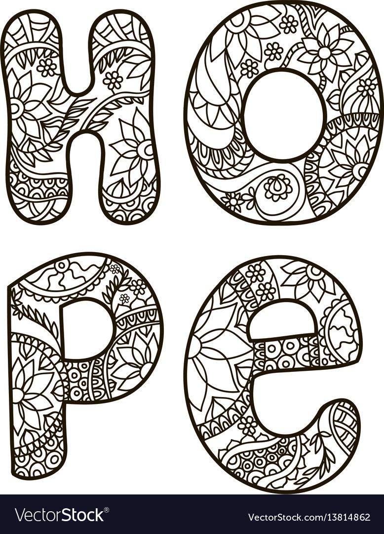 The Word Hope In Style Of Doodle Vector Image