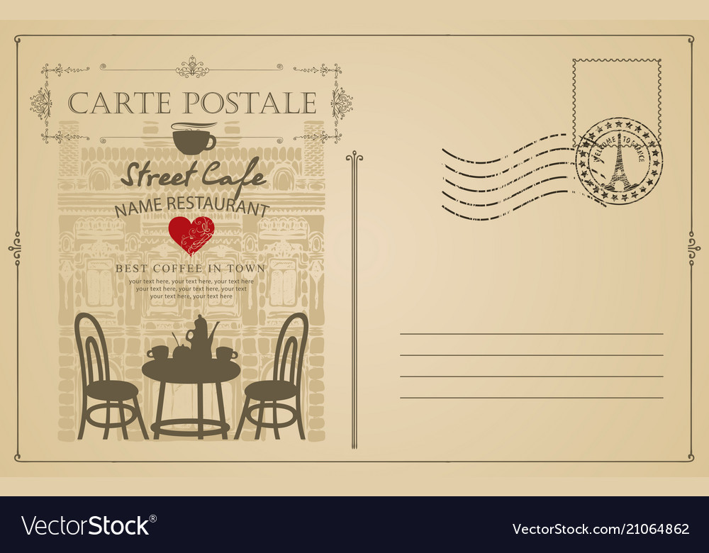 Vintage postcard with french street cafe
