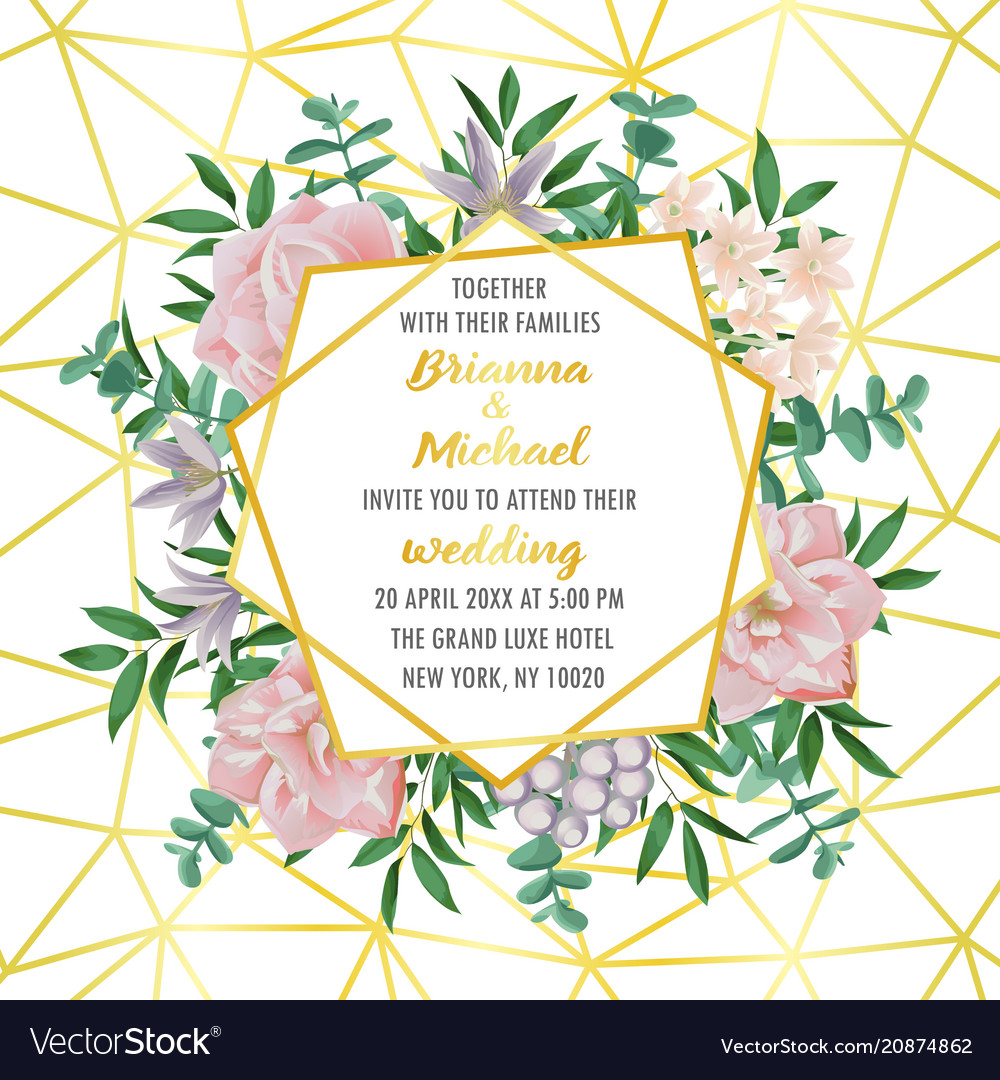 Wedding invitation with geometric frame flowers