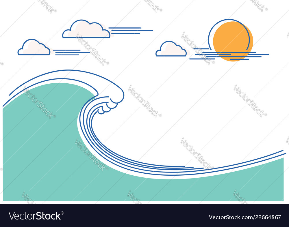 Big ocean wave flat line color