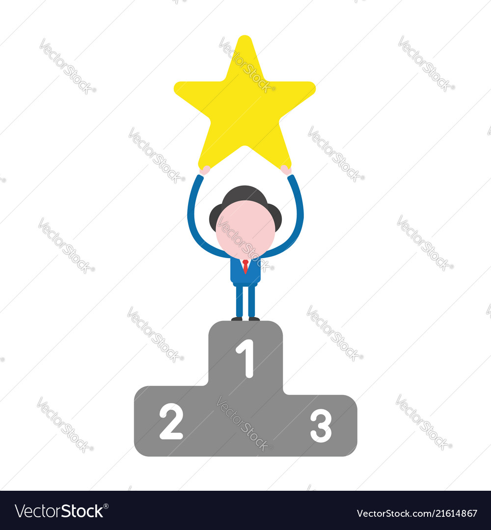 Businessman character holding up star on first