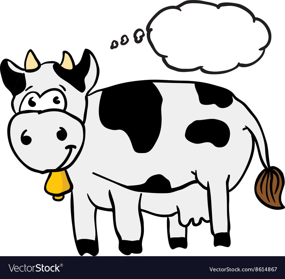 Cow with thought bubble vector image