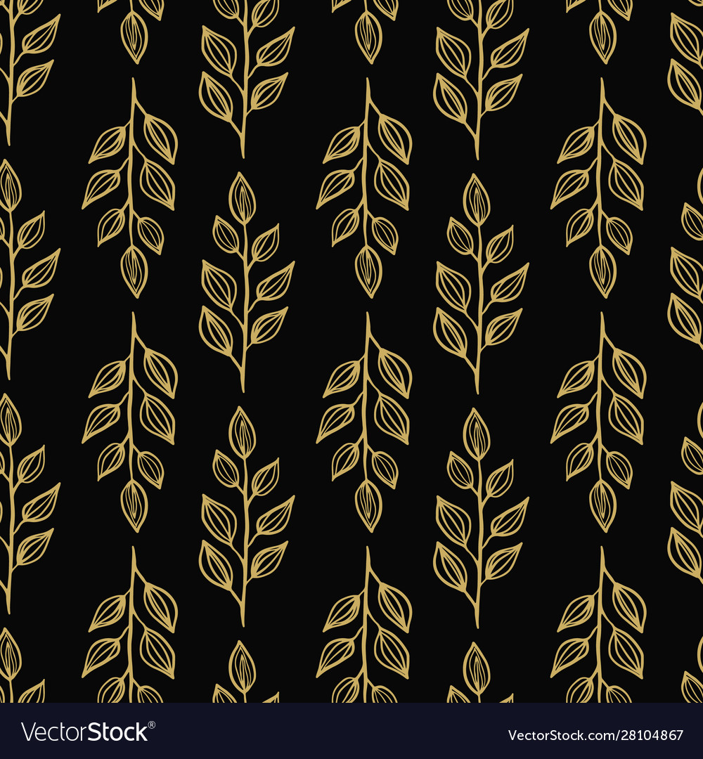 Elegant Gold Leaves On Dark Background Seameless