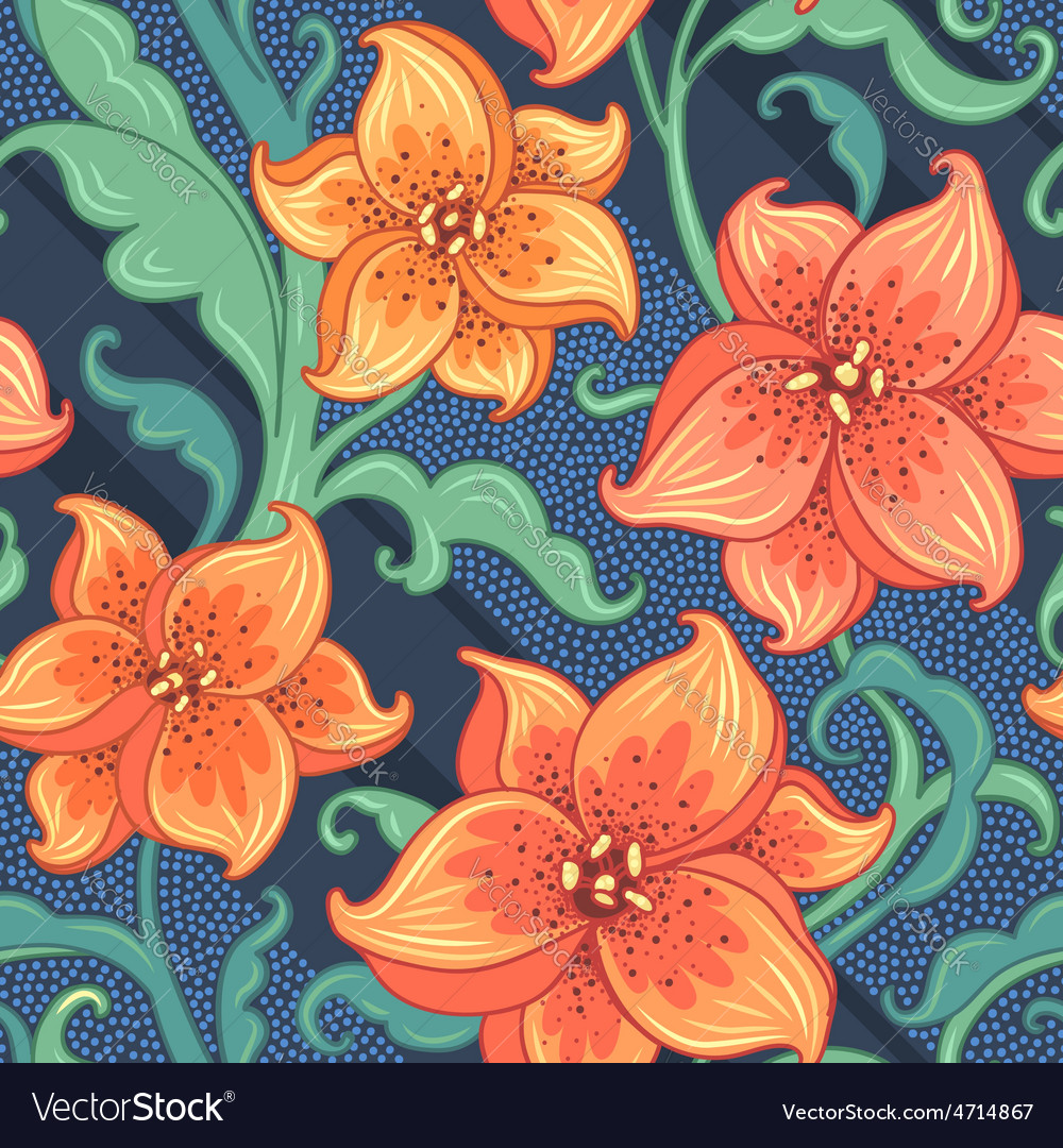 Flower pattern lily blue