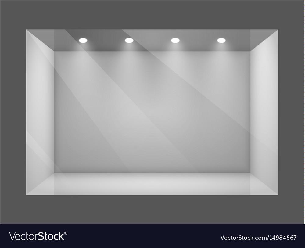 Glass empty show window of shop