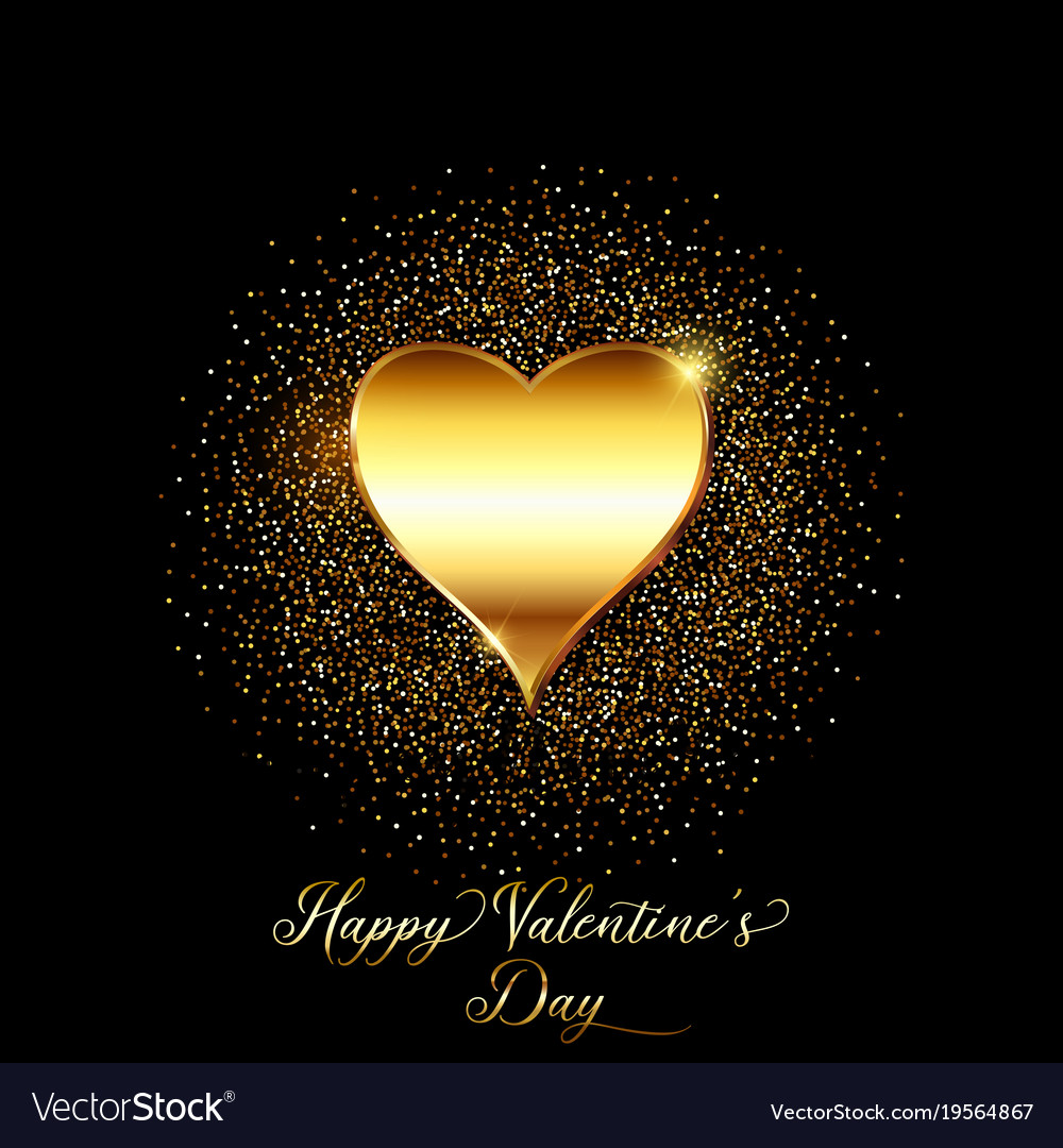 234bf0012dd7 Gold glitter valentines day background Royalty Free Vector