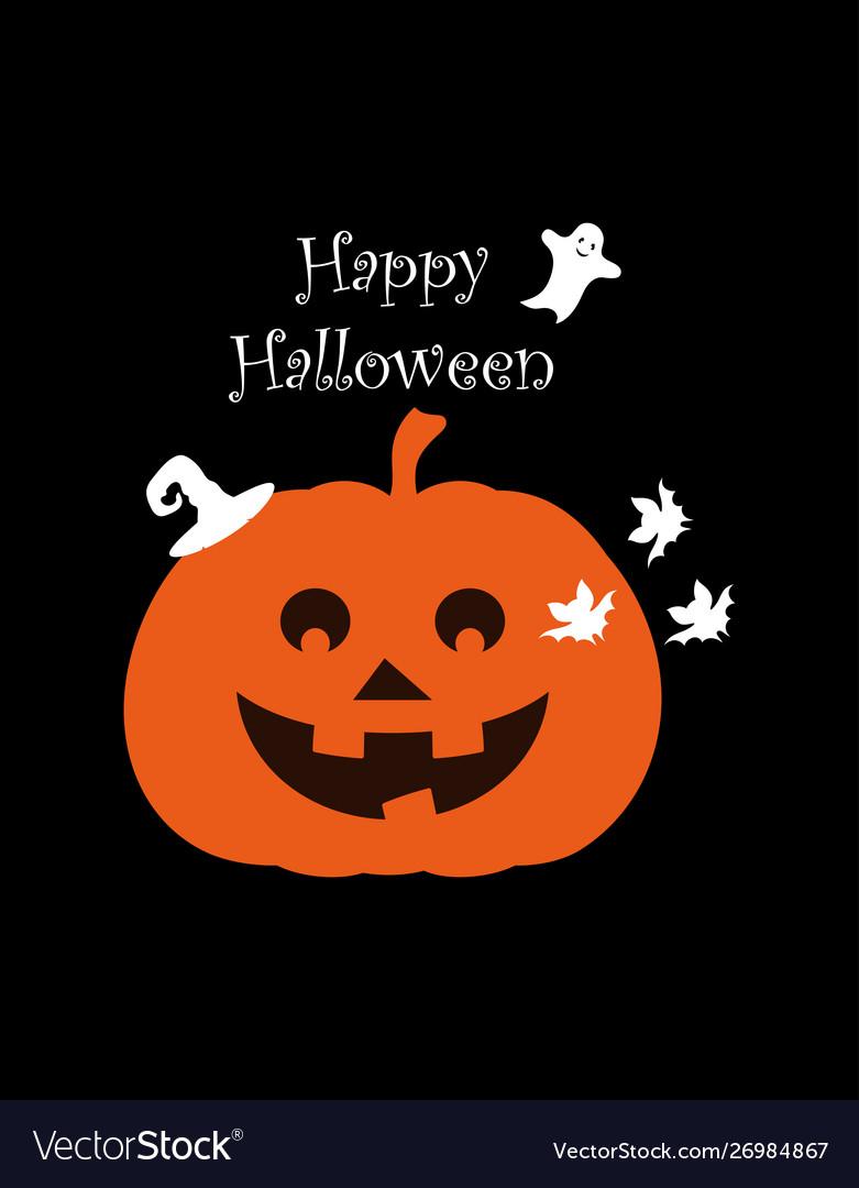 Halloween pumpkin poster on black background