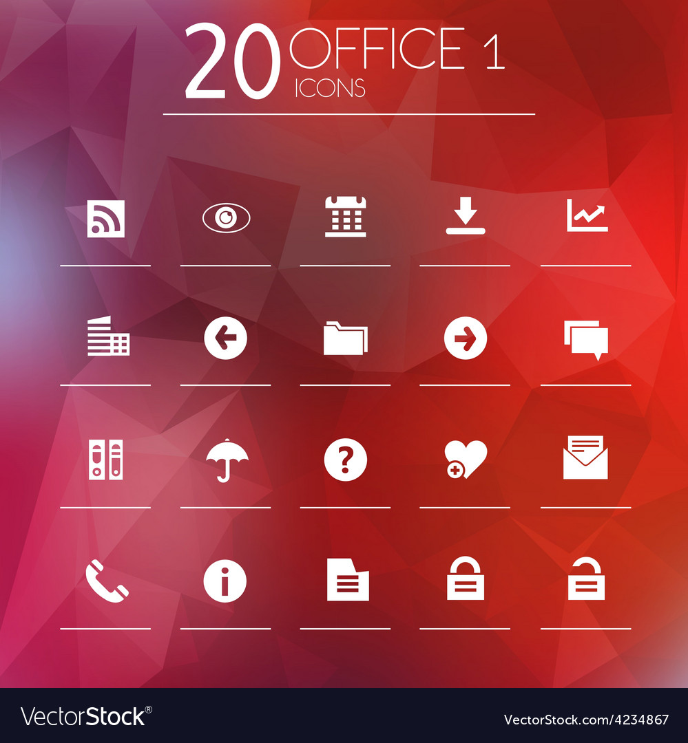 Office 1 icons on blurred background
