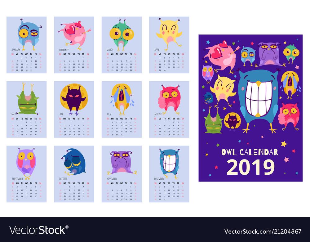 Owl calendar template