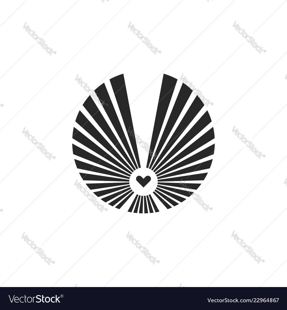 Owl logo round geometric shape symbol flying bird