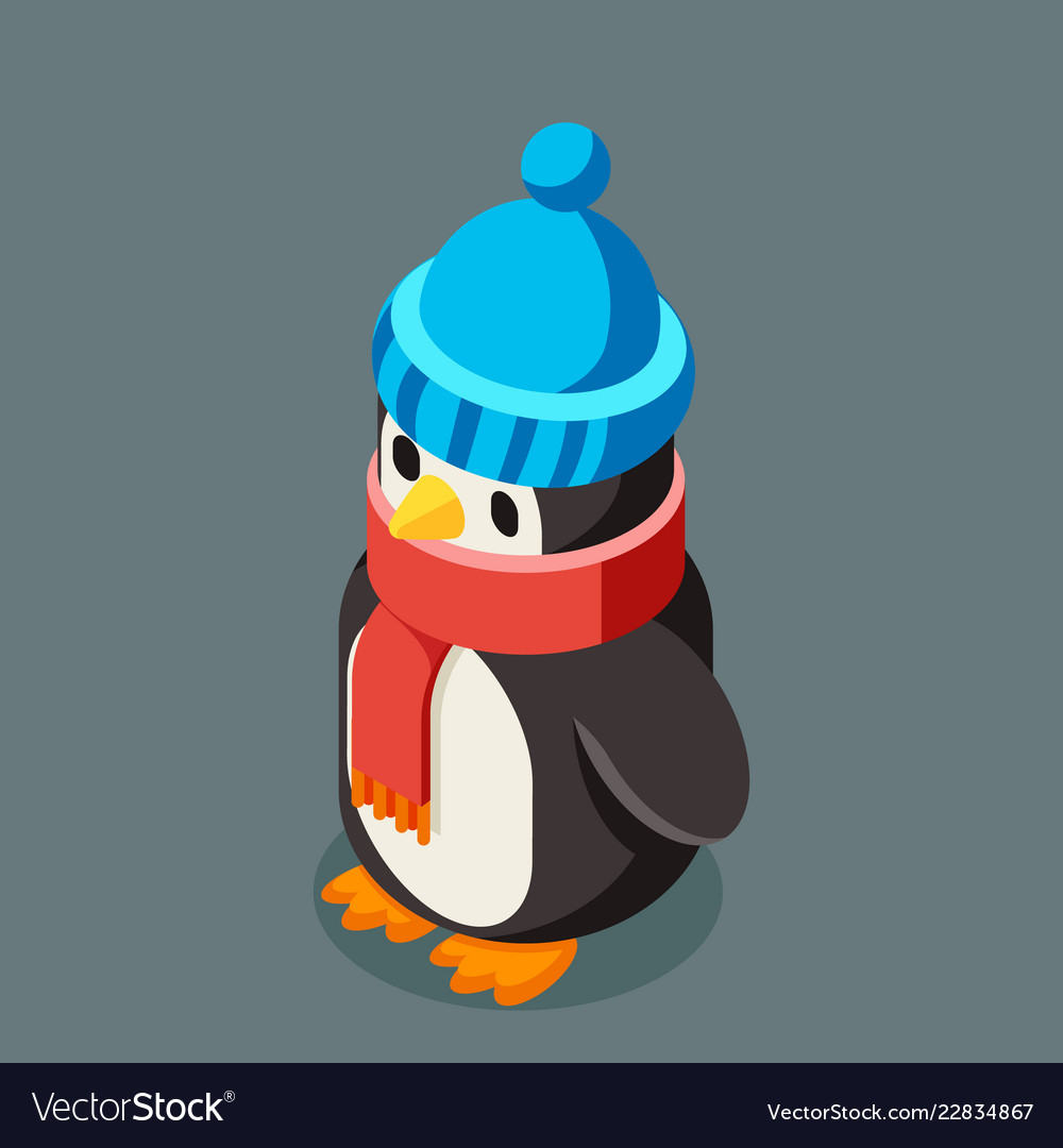 Penguin isometric christmas character winter new