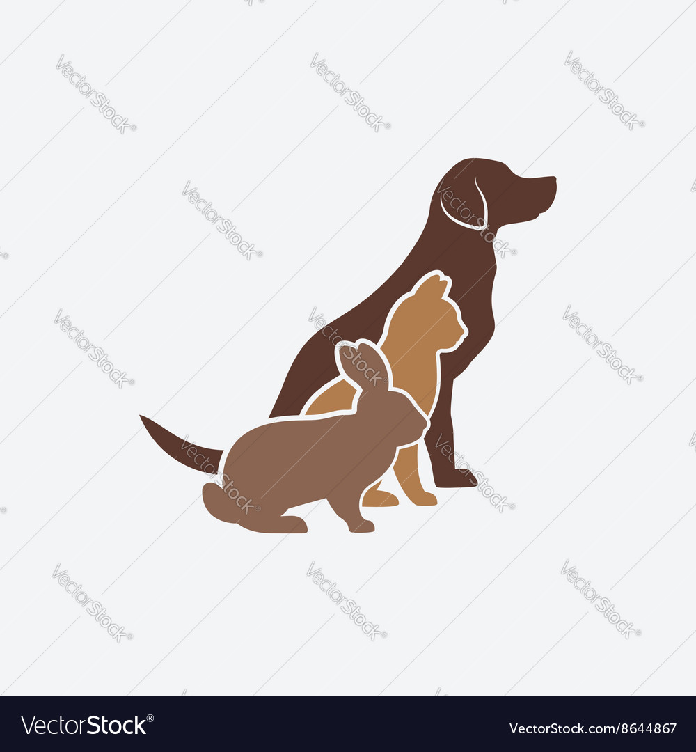 Pets silhouettes dog cat and rabbit logo of pet