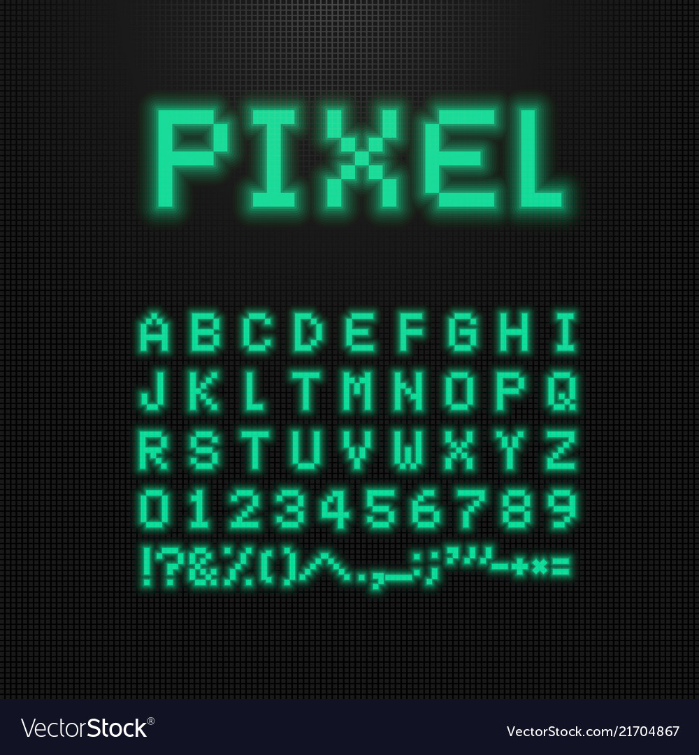 Pixel font letters numbers and signs on