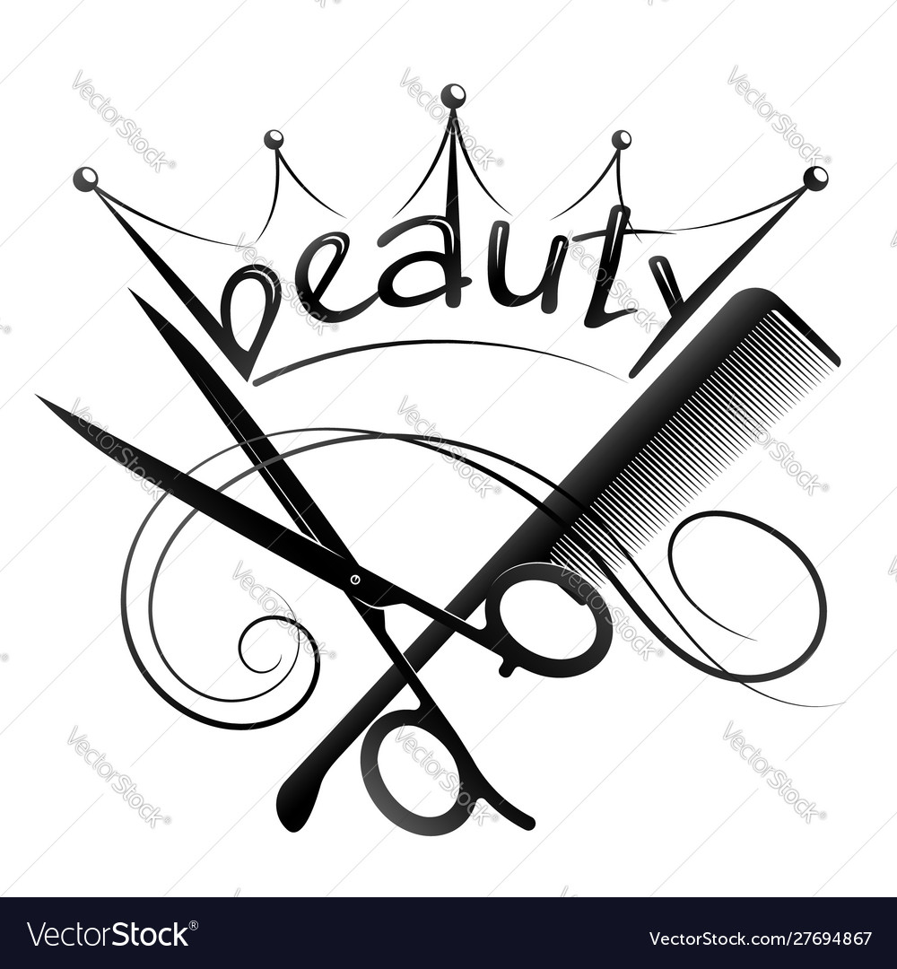 Scissors And Comb Design For A Beauty Salon Stock Illustration - Download  Image Now - iStock