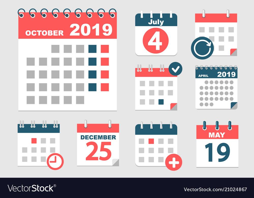 Set of different calendars