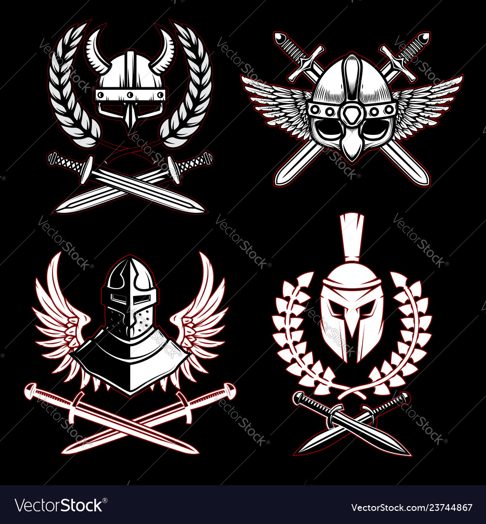 Set of emblems with viking ancient weapon design