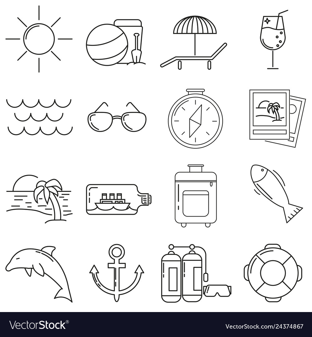Set of icons in line style sea