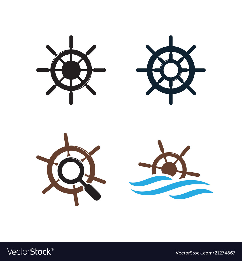 Ship wheel logo design template