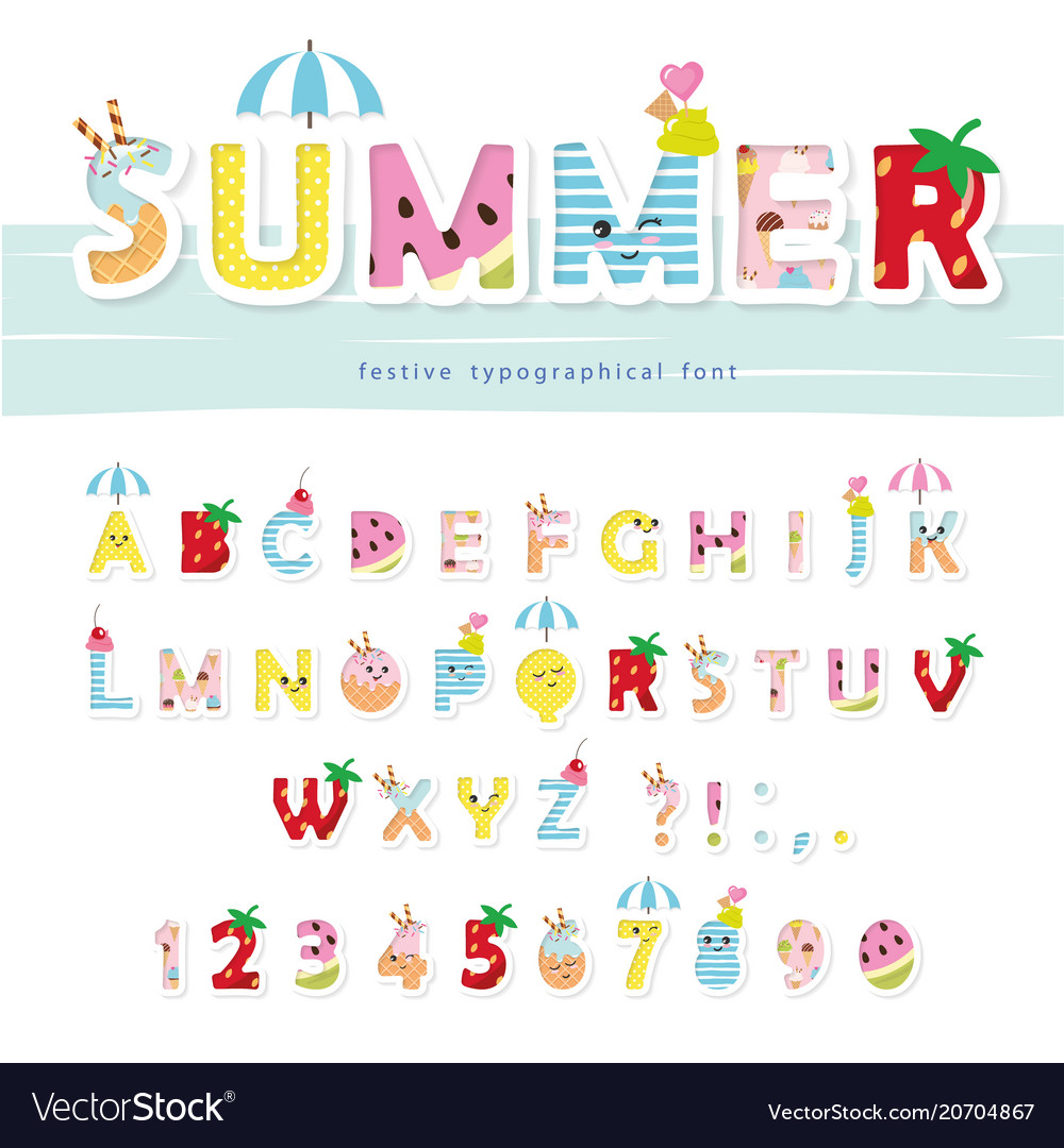 Summer font creative cartoon letters and numbers