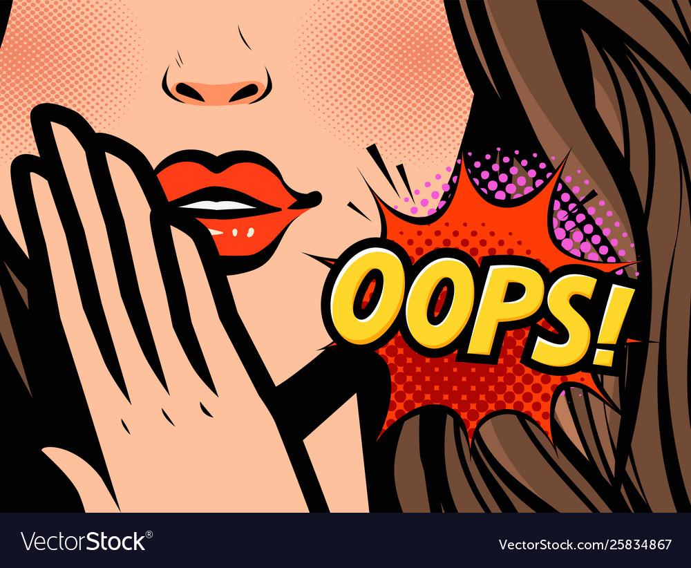 Surprised woman oops in pop