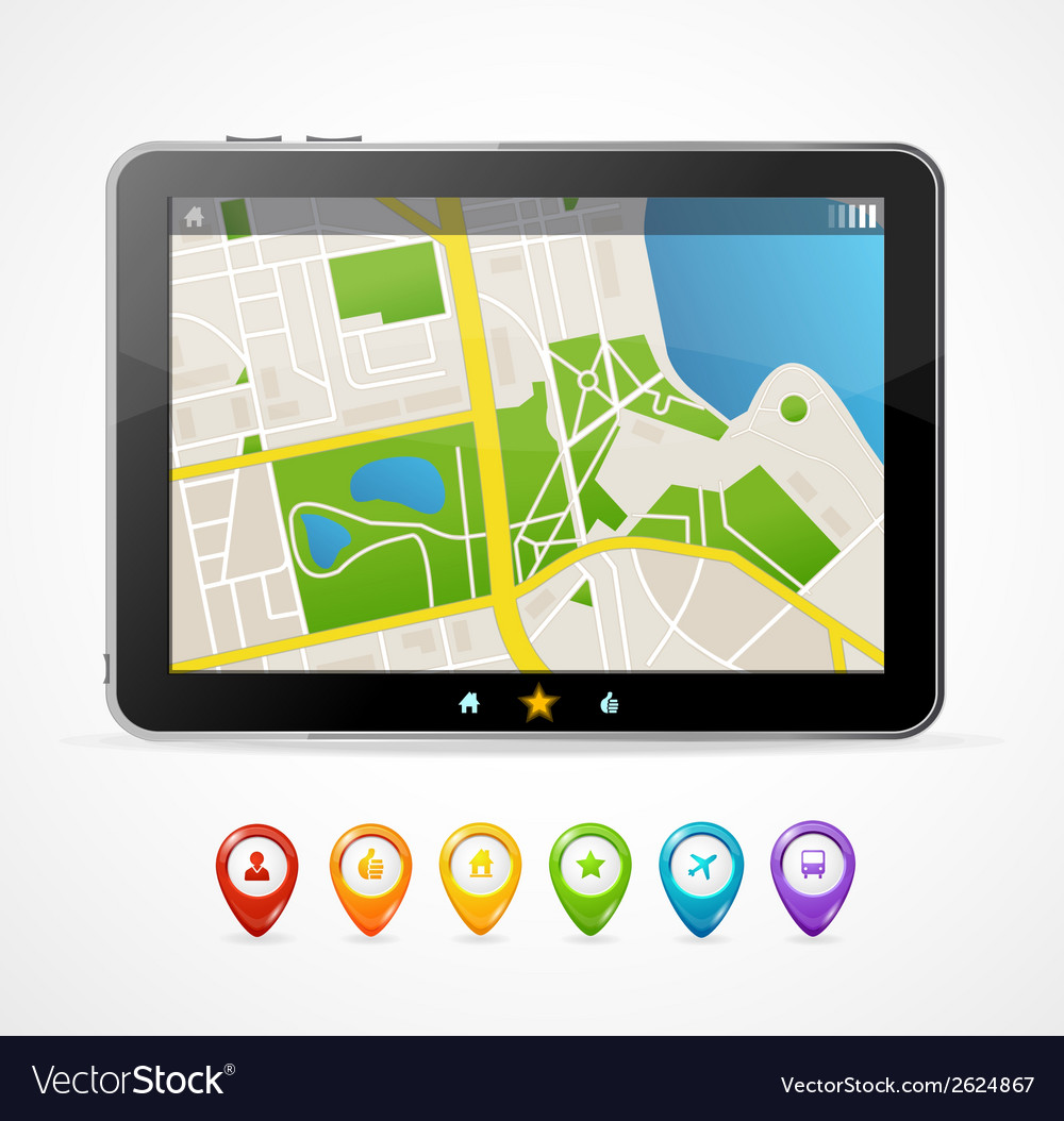 Tablet map navigation set infographics