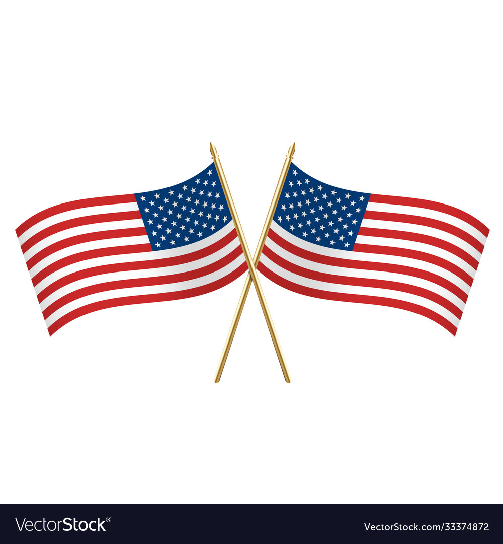American crossed flags waving left and right