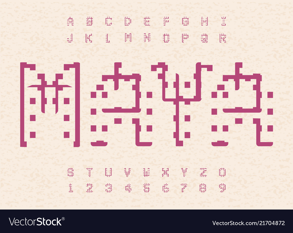 Ancient maya alphabet hieroglyphic old letters