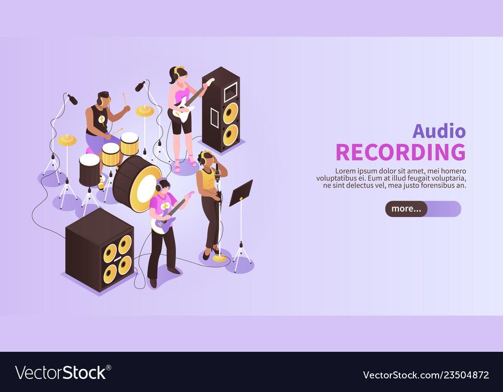 Audio recording horizontal banner