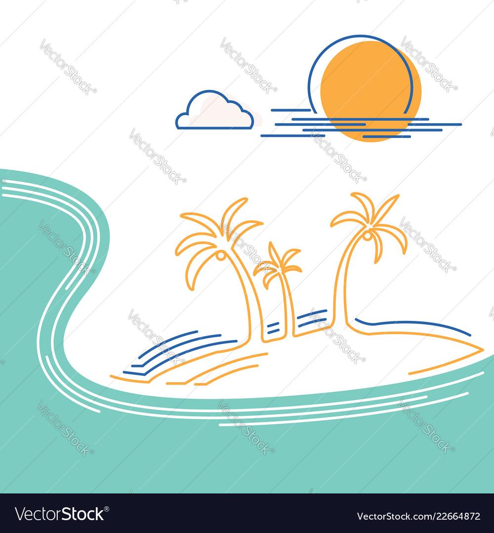 Big ocean wave and tropical island flat line