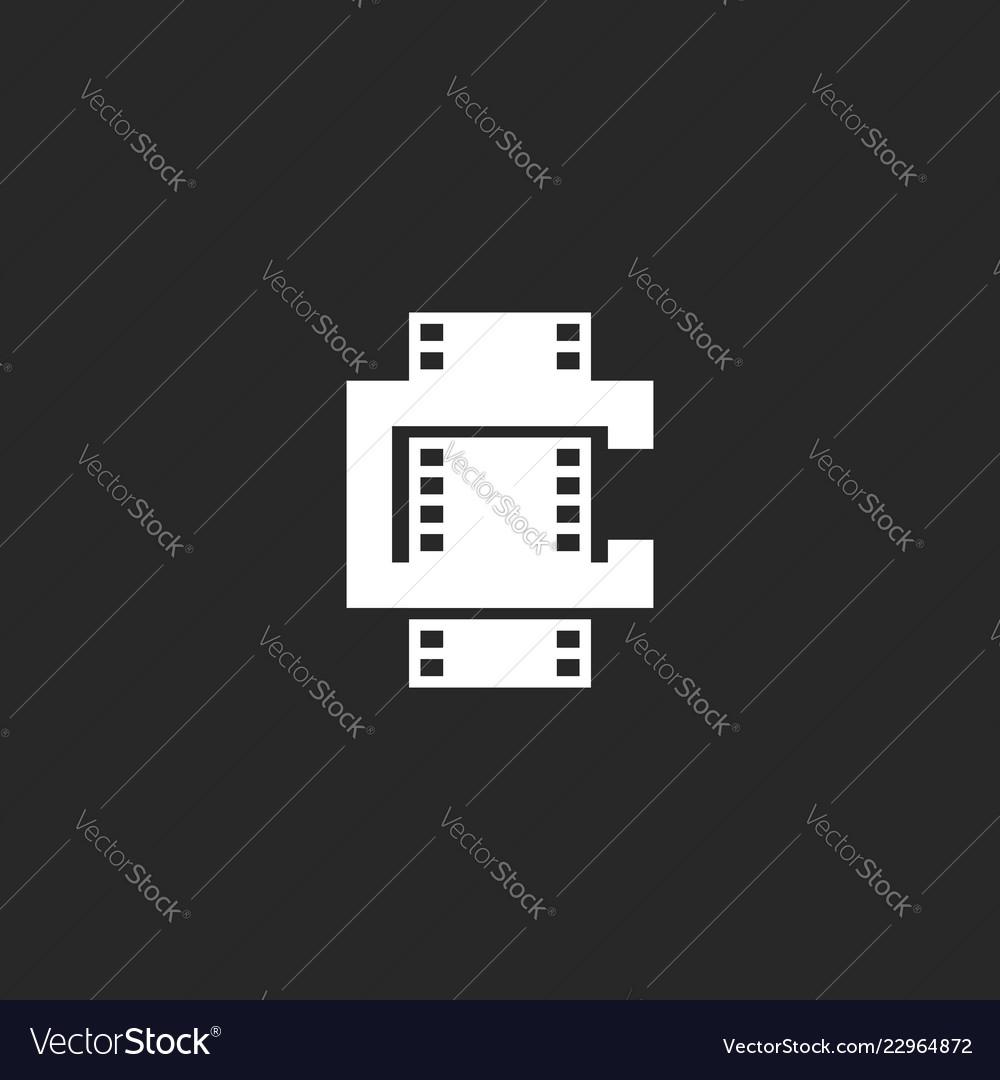 Cinema logo mockup shape leter c logotype
