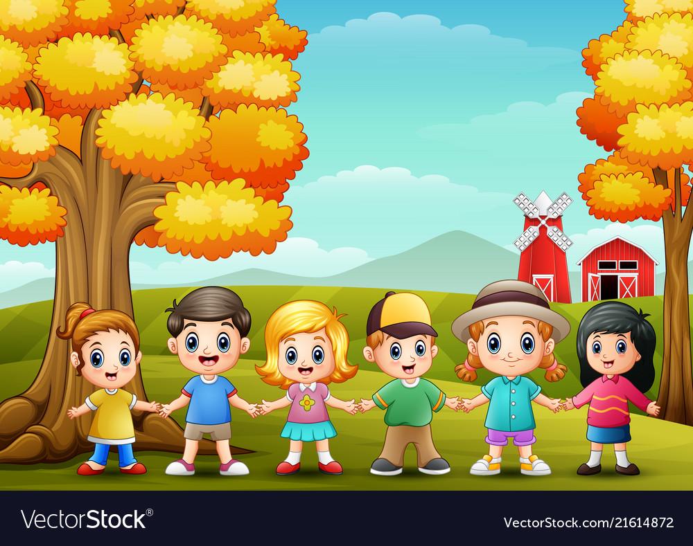 Cute children holding hands together in farm backg