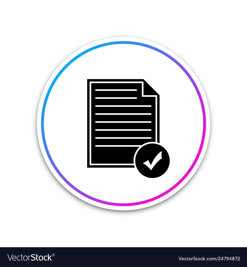 Document and check mark icon isolated on white