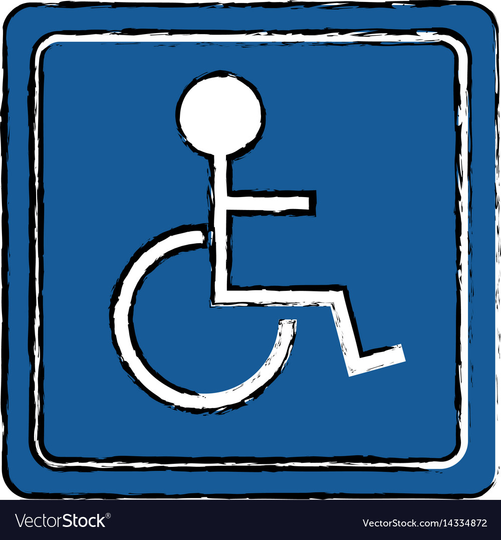 Drawing disabled person wheelchair sign road vector image