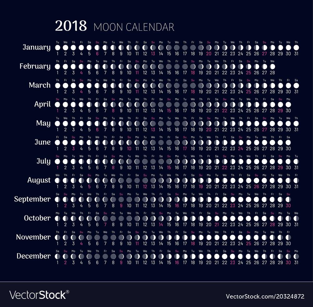 Lunar calendar 2018 year in flat style Royalty Free Vector