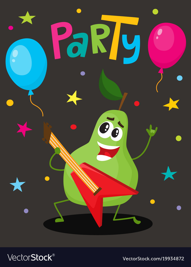Party flayer template with funny guitar character