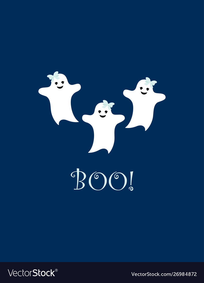 Poster with cute cartoon ghosts