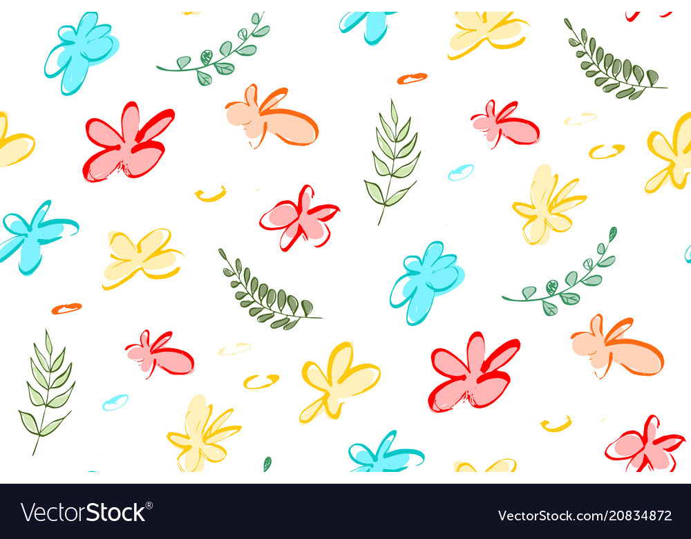 Seamless background with abstract flowers