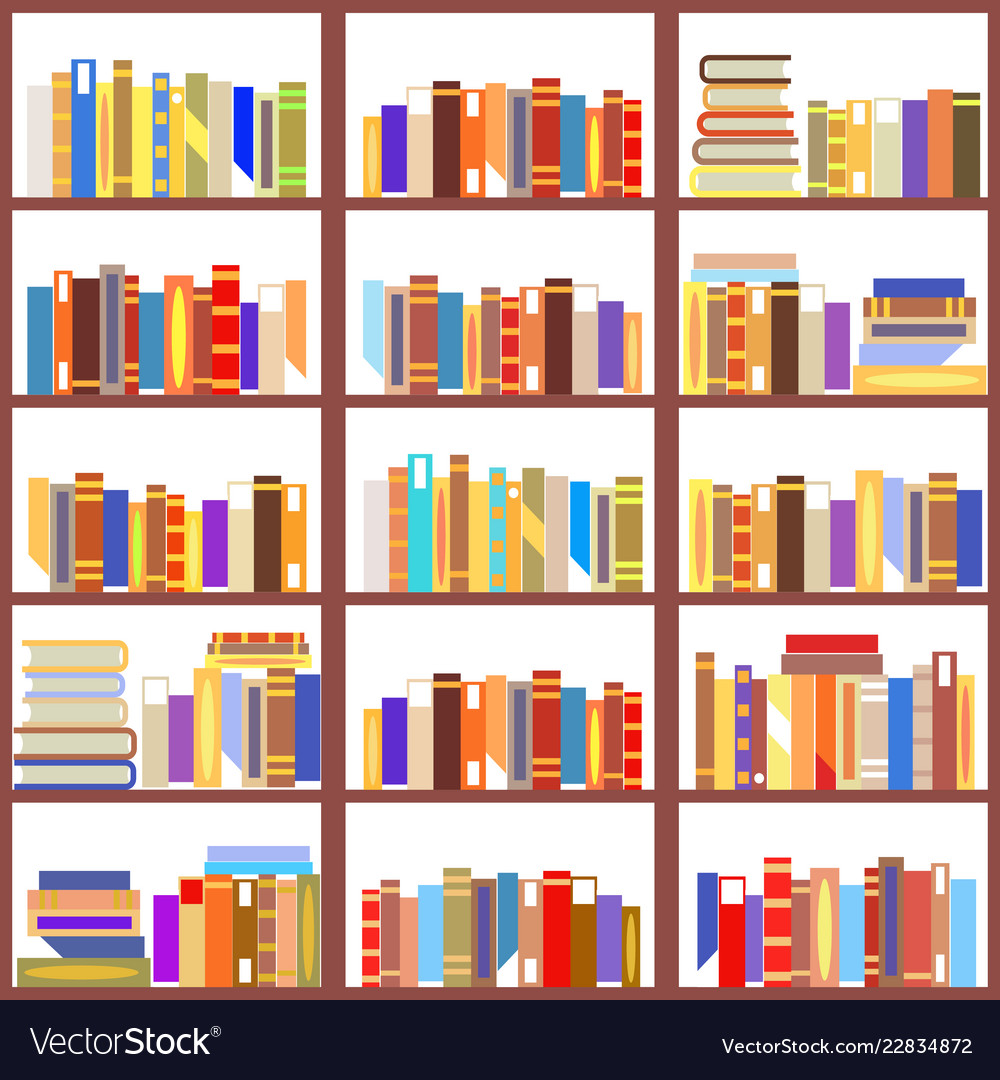 Seamless bookshelf isolated pattern vintage flat