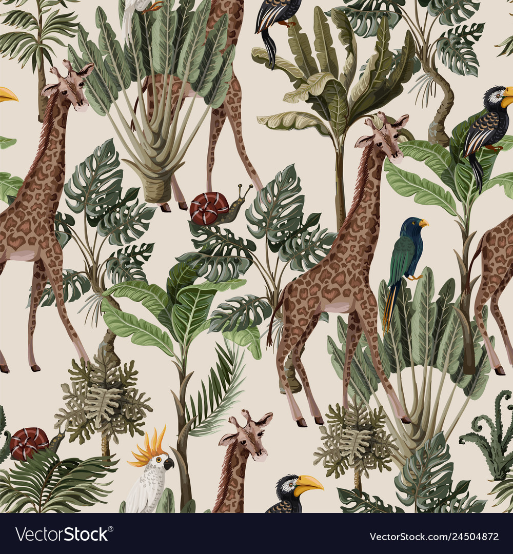 Seamless pattern with exotic trees and animals