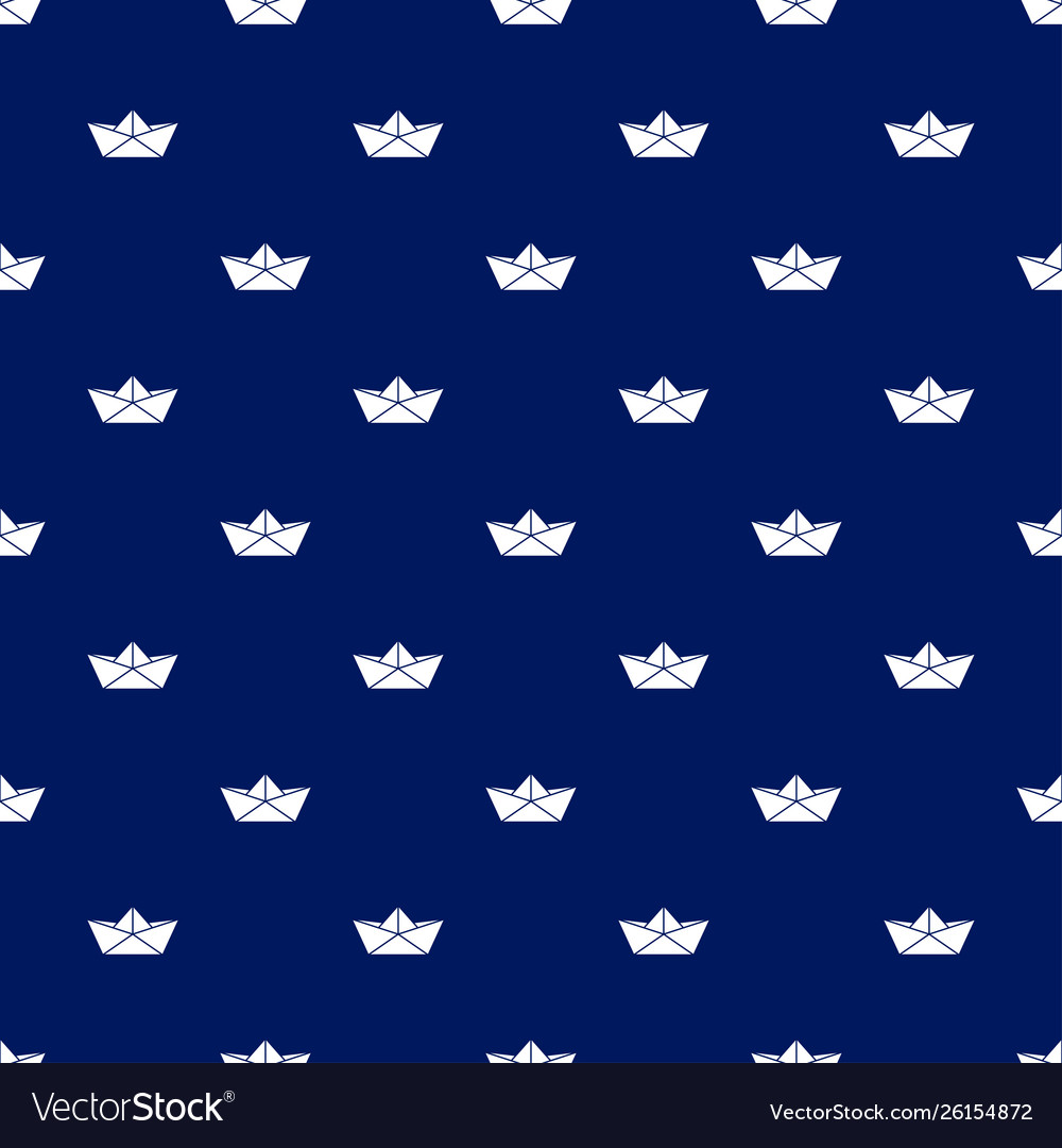 Seamless pattern with white paper boats on blue