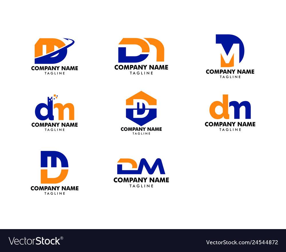 Set of initial letter dm logo template design