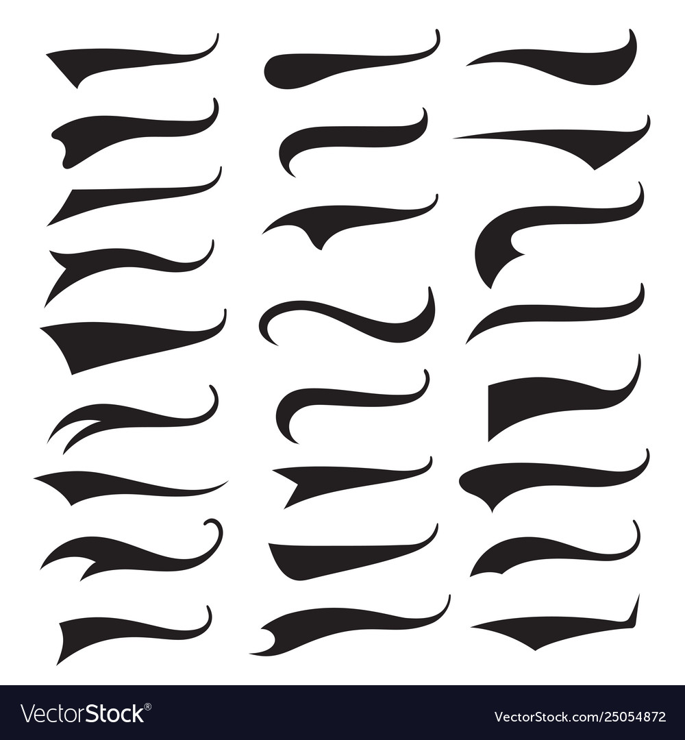 Swash and swooshes tails typography set brush